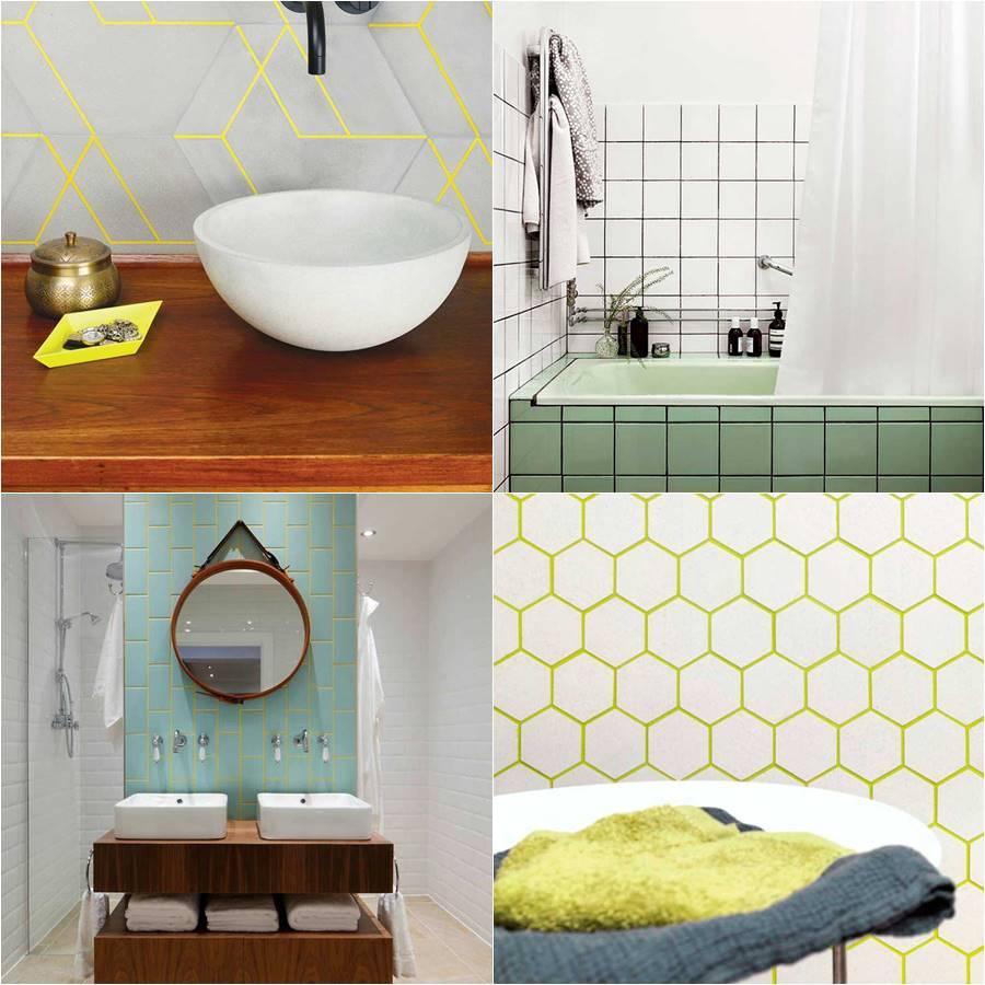 Ejemplo de cómo pintar las juntas de colores en tu espacio de baño